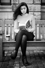 Siona (Al Fed) Tags: dublin woman history college cup coffee caf bench hair reading book wind study trinity beyond 447 siona 100strangers 20160426