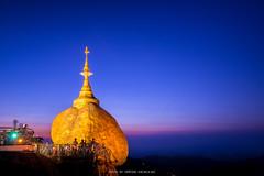 GOLDEN ROCK AT THE KYAIKTIYO PAGODA (::: a j z p h o t o g r a p h y :::) Tags: landscape religious temple pagoda buddhist faith belief buddhism myanmar goldenrock twilightsky