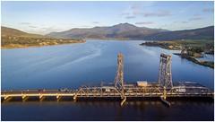 Bridgewater Bridge (Trains In Tasmania) Tags: water river scenery derwentvalley australia scene aerial vista tasmania bridgewater drone derwentriver riverderwent dji earlylighting mountdromedary trainsintasmania tasmanianscenary stevebromley djiphantom3standard phantom3standard