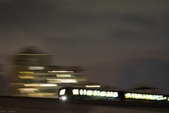 166 / 366 - Night Moves (Pamela Saunders) Tags: light blur night pan skytrain newwest 366 366project