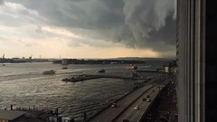 Here comes the rain (Several seconds) Tags: rain nyc storm harbor wallstreet southstreet water fdr stormclouds timelapse