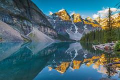 quiet morning (john dusseault) Tags: morainelake canada alberta lake water sunrise refelction light mountain