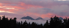 sunset mountains (Simple_Sight) Tags: sunset red sky vancouverisland bc canada sea mountains clouds fog trees ngc npc