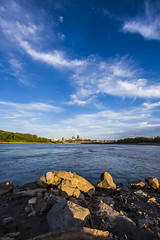 Cityscape of Kansas City from Kaw Point at Riverfront Park - Kansas city, Missouri - August 22nd, 2016 (coltcoanphoto) Tags: landscapes bracketing hdr kansas city cityscape long exposure water sky clouds lightsa royals labor day nikon beautiful sunset gorgeous inspiring
