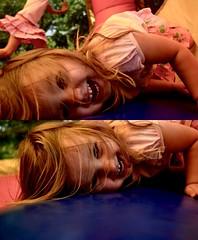 Bouncy House Fun (Belle Ballentine) Tags: bouncyhouse children orange pink blue nikond5100 happy smile littlegirl birthday summer