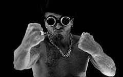 (Danny Valdéz) Tags: dannyvaldéz 2015 miamibeach guillaume french sonyalphaa99 minoltaaf85mmf14g bw blackwhite silverchain drhorrible goggles boxing tattoos koi nakedlights muscles topless continuouslight yesthatdannyvaldez stillshootingsony