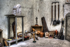 Work Room (L Geoffroy) Tags: old light people sculpture building art hammer stone wall architecture work bench studio square table diy saw shot desk masculine spirit no space grunge style tools structure historic tape nails level measure copy tool overhead wrench screwdriver pliers laid