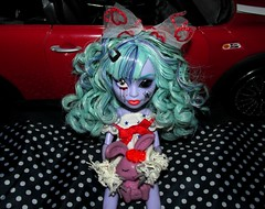 Will you cry? Or will you smile at me? (MHperfectlyimperfect) Tags: camera red cute bunny green car fashion animal monster canon dark hair toy drums photography spider is photo lyrics high scary blood stuffed aqua punk doll flickr dolls kei photographer shadows dress darkness shot 1st sweet song turquoise teal echo gothic picture mint adorable makeup style wave curls shy powershot creepy plush plastic lolita curly bow kawaii innocence drummer 50s dots custom visual hairstyle mh mattel basic ghoul twyla meto boogeyman mejibray sx160 mhperfectlyimperfect