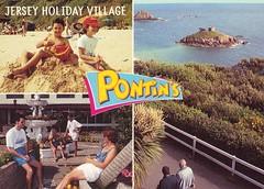 Pontins Jersey Holiday Village, Portelet Bay (trainsandstuff) Tags: vintage postcard retro pontins holidaycamp porteletbay jerseyholidayvillage