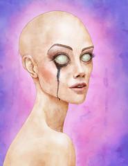 Vixen (Shmoonify) Tags: pink woman girl watercolor bigeyes eyes women purple digitalart bald digitalpainting watercolour watercolours digitalwatercolour digitaldrawing whiteeyes baldwoman digitalillustration girlportraits digitalartist