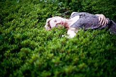 Shinjuku siesta (vixalice) Tags: park portrait green film girl japan tokyo model nikon shinjuku kodak bokeh blond nik portra f4 nikonf4 filmphotography porta400
