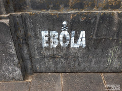 Ebola graffiti with skull and crossbones on concrete wall. (okaystephanie) Tags: art peru skull graffiti spread paint message lima spray crossbones disease ebola epidemic