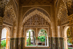 The Alhambra, Granada - Palacios Nazares - Palacio de los Leones - Patio de los Leones (Court of the Lions), the Mirador de Lindaraja looking out onto the Patio de Lindaraja, the garden of the Harem (peripathetic) Tags: building beauty architecture canon buildings spain worldheritagesite espana alhambra moorish granada 5d palaces 2016 nasrid nazaries 5dmkiii 5dmk3 canoneos5dmk3