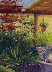Darryl's House (Sherry Schmidt) Tags: plants house art home garden watercolor painting landscape backyard gardening outdoor patio pots watercolour gouache pleinair