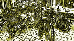 a moment of calm in the city (j.p.yef) Tags: city people caf monochrome germany restaurant chairs hamburg digitalart streetlife bicycles tables yef peterfey jpyef