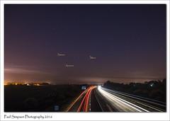 The Night Sky (Paul Simpson Photography) Tags: sky mars stars motorway space nighttime nightsky saturn traffictrails photosof imageof photoof m181 imagesof sonya77 paulsimpsonphotography june2016