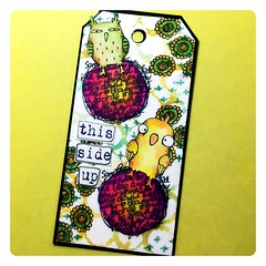 Art tag with Stampotique birdies (Stampinkie) Tags: stencil tag rubberstamping arttag carabelle tagart distressink stampotique taglove carabellestudio