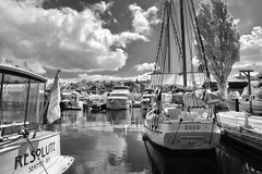 Resolute Zulu (zenseas : )) Tags: seattle summer sky blackandwhite bw lake clouds sailboat reflections ir boats boat dock sailing ship waterfront yacht ships sunny infrared lakeunion yachts docked lakefront zulu digitalinfrared partlycloudy centerforwoodenboats resolute southlakeunion