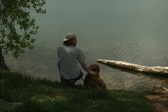 Man & Dog (Let Ideas Compete) Tags: usa dog lake man friend colorado lafayette waterfront shore co mansbestfriend 80026 mandog lafayettecolorado waneka lafayetteco lafayettecoloradolafayettecoloradolafayette colafayetteco