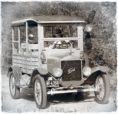 1925 Ford Model T Station Wagon (BIKEPILOT) Tags: bw classic ford car photoshop vintage blackwhite airport automobile photoshopped rally transport vehicle popham 1925 flyin modelt stationwagon airfield aerodrome eghp aeroautojumbleclassicvehiclerallyflyin