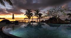 Royal Palm heated pool (PSK pix) Tags: ocean sunset sea cloud sun seascape colour beach clouds paul island islands seaside pix colours cloudy indian beaches tropical mauritius sunrays psk tropics knipe pskpix