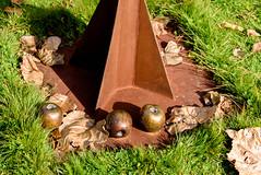 The Fallen Ones (Jocey K) Tags: autumn newzealand sculpture art bronze lawn southisland apples bannockburn wineregion tripanzacblipmeetcentralotago carrickwiney