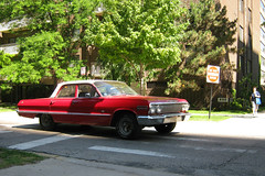 Best Friend's Hooptie (Flint Foto Factory) Tags: city red summer urban white chicago motion chevrolet sign sedan moving illinois gm post top north platform july chevy intersection impala sheridan edgewater donotenter 2010 1963 hooptie generalmotors unrestored glenlake 4door worldcars bbody