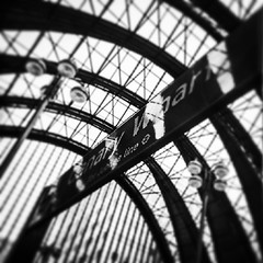 canary wharf station (elainedavis189) Tags: blackandwhite london buildings photography canarywharf skyview lovelondon londonbuildings amateurphotography londonstations dlrstations iphoneography instagramapp