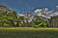 Half Dome, Yosemite National Park (Mastery of Maps) Tags: california park ca trees sky mountain green nature grass rock pine clouds forest outdoors nationalpark spring view natural meadows bluesky yosemite halfdome fields marsh yosemitenationalpark openspace naturalbeauty sierranevada iconic yosemitevalley usnationalpark 2016 halfdomerock