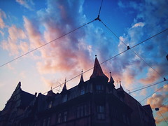 Pink puffs (ewitsoe) Tags: street city sunset urban building architecture clouds samsung poland steeple cloudporn discover poznań poznan jezyce mobilephotography ewitsoe