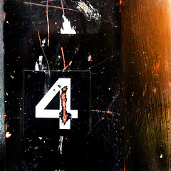 Number 4 (Andrea Kennard) Tags: street abstract detail reflection texture sign metal architecture silver design symbol metallic background text decoration digit objects plate number font type address