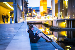 chilling out (Wavey57) Tags: blue people water yellow oslo out fuji smoke young cigar chilling fujifilm xt10