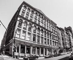 Cast Iron Facades on Broome Street (Ed Newman) Tags: newyork newyorkciy newyorkarchitecture newyorkcityarchitecture architecture castirondistrict gothamist manhattan soho fisheye fisheyelens nikond700 nikon