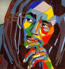 Stained glass portrait of Bob Marley, Pop Art (blashchukartstudio) Tags: stainedglass popart bobmarley