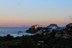 Castello di Baia (alessandravallante) Tags: pink light sunset sea italy panorama orange castle landscape tramonto mare violet rosa napoli viola castello arancio baia utaly