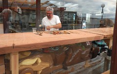 Carving Totem Poles - Jul 7, 2016 (jiff89) Tags: seattle man pier downtown july totem pole carve landing carver 57 miners 2016