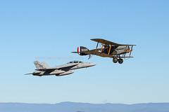 Bristol F.2b and Super Hornet (CanvasWings) Tags: bristol rhino f2b raaf superhornet fa18f 1son tavas royalaustralianairforce raafamberley theaustralianvintageaviationsociety