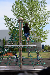 Climbing the Ropes (Vegan Butterfly) Tags: park cute playground outside person climb kid child outdoor candid adorable equipment climbing ropes