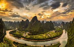 Xianggong hill,Guilin China (SaravutWhanset) Tags: china travel sunset summer sun sunlight tourism landscape asian asia view explore blackground beatiful mountian exploer
