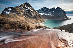 Final Descent (Danil) Tags: ocean travel sea mountain snow ice beach grass norway rock stone landscape flow island high sand stream daniel atlantic remote lonely elevation desolate barren lofoten rugged archipel bosma kvalvika