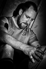 Rugby Player (stefanwiede) Tags: portrait blackandwhite man sport rugby indoor mann schwarzweis sportportrait removedfromstrobistpool incompletestrobistinfo seerule2