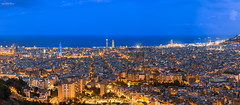 Barcelona Panorama (_Hadock_) Tags: barcelona desktop nightphotography travel blue wallpaper panorama espaa holiday detail yellow night de landscape photo high spain nikon cityscape screensaver panoramic catalonia full d750 resolution hd tamron fondo f28 catalua pantalla citiscape independiente 2470 independentismo