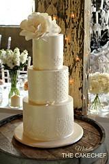 Ivory Wedding cake (The CakeChef) Tags: wedding vineyard weddingcake rustic elegant piping stenciling sugarrose sugarflowers lustred ivoryweddingcake