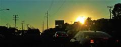 (Photosintheattic (Devy)) Tags: city light sunset sky sun signs cars lines sign night lights evening rainbow cross traffic outdoor dusk spirit nighttime transformers sunburst poles ora burst spiritual presence sunrays telephonepoles glimmer humans