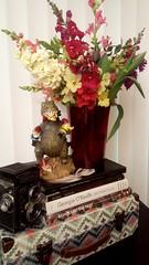 Saturday blossoms (armykat) Tags: flowers dinosaur tulips stock books vintagecamera vase bouquet floralarrangement gnomes gladiolus yashicad harfordcountymaryland belairfarmersmarket gnomesinperil