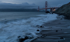 Blue Hour at Marshall's Beach (shalabh_sharma7) Tags: sanfrancisco california longexposure travel bridge water fog clouds sand waves goldengatebridge shore bluehour goldie tamron karlthefog sonya77ii