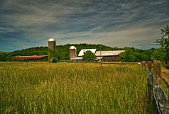 Thompson's Station, Tennessee (BDM17) Tags: field grass station clouds barn fence buildings tn farm tennessee grain structures silo pasture thompsons