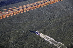 GGB Over Under (LifeLover4) Tags: sanfrancisco bridge water ferry architecture flight aerial structure textures goldengatebridge goldengate moire 79 ggb cessna172 lifelover4 stickneydesign