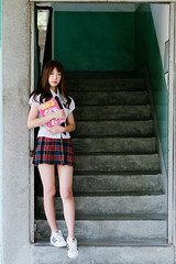 (I C E I N N) Tags: batis1885 carlzeiss summer outdoor groupshoot photoshoot teen asian jk girl schoolgirl moody portrait white shirt red black pleated tartan skirt patch tie highschool uniform trainer sneakers adidas stone stairs taipei taiwan sony a72 sonya7ii icle7m2 85mm f18 dof      ntnu