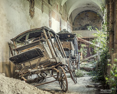Love and marriage, Go together like a horse and carriage. (Maestro-Photography) Tags: urbex urbanexploration abandoned leegstaand exploring verlaten forgotten decay ruine ruins places deserted decayed verval canon 5dmk3 5d mk3 mark3 5dmark3 hdr monastre monastere monastry klooster kerk chruch chapel kapel ruina kosciola ewangelickiego monasterodelcimitero monastero cimitero koets carriage rijtuig